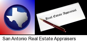 San Antonio, Texas - real estate appraisal documents and a pen