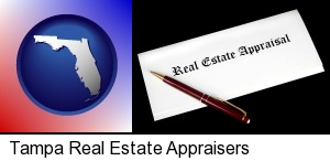 Tampa, Florida - real estate appraisal documents and a pen