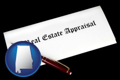 alabama real estate appraisal documents and a pen
