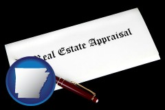 Arkansas - real estate appraisal documents and a pen