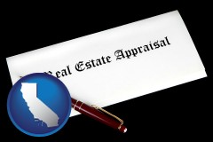 california real estate appraisal documents and a pen