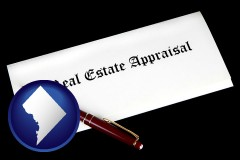 Washington, DC - real estate appraisal documents and a pen