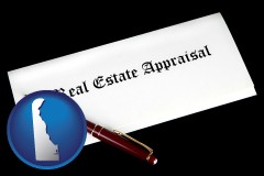 delaware real estate appraisal documents and a pen