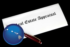 hawaii real estate appraisal documents and a pen