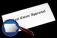 Iowa - real estate appraisal documents and a pen