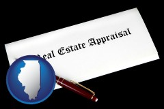 Illinois - real estate appraisal documents and a pen
