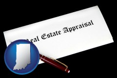 Indiana - real estate appraisal documents and a pen