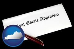 kentucky real estate appraisal documents and a pen