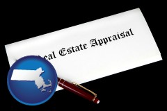Massachusetts - real estate appraisal documents and a pen