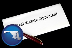 maryland real estate appraisal documents and a pen