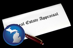 michigan real estate appraisal documents and a pen