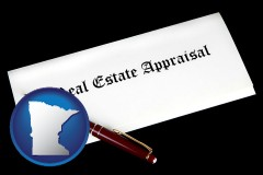 minnesota real estate appraisal documents and a pen