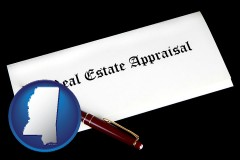 mississippi real estate appraisal documents and a pen