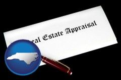North Carolina - real estate appraisal documents and a pen