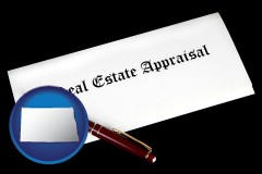 North Dakota - real estate appraisal documents and a pen