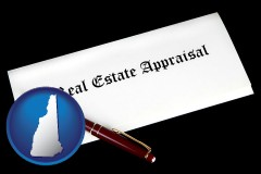 new-hampshire real estate appraisal documents and a pen