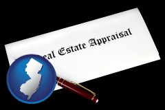 new-jersey real estate appraisal documents and a pen