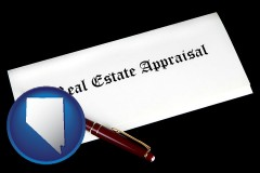 Nevada - real estate appraisal documents and a pen