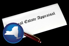 New York - real estate appraisal documents and a pen