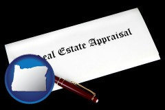 Oregon - real estate appraisal documents and a pen
