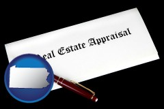 Pennsylvania - real estate appraisal documents and a pen