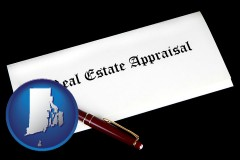 rhode-island real estate appraisal documents and a pen