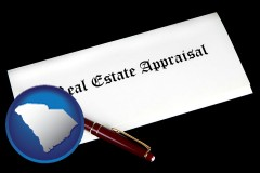 south-carolina real estate appraisal documents and a pen