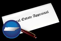 tennessee real estate appraisal documents and a pen