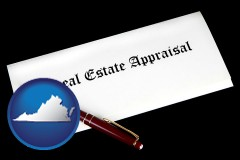 virginia real estate appraisal documents and a pen
