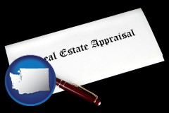 Washington - real estate appraisal documents and a pen