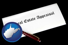 West Virginia - real estate appraisal documents and a pen