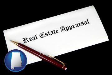 real estate appraisal documents and a pen - with Alabama icon