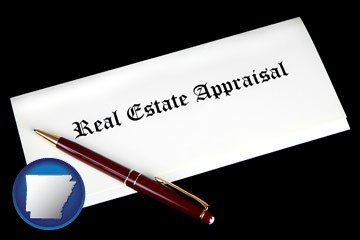 real estate appraisal documents and a pen - with Arkansas icon