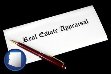 real estate appraisal documents and a pen - with Arizona icon