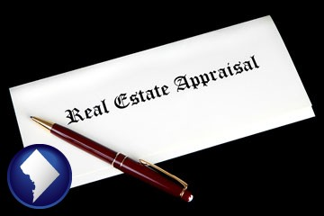 real estate appraisal documents and a pen - with Washington, DC icon