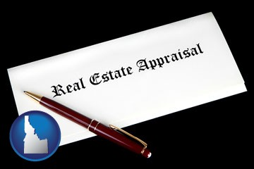 real estate appraisal documents and a pen - with Idaho icon