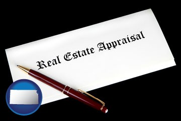 real estate appraisal documents and a pen - with Kansas icon