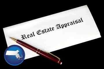 real estate appraisal documents and a pen - with Massachusetts icon