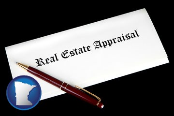 real estate appraisal documents and a pen - with Minnesota icon