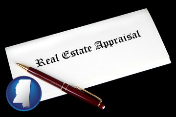 real estate appraisal documents and a pen - with Mississippi icon