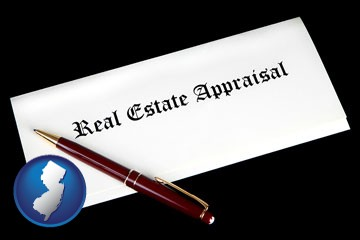 real estate appraisal documents and a pen - with New Jersey icon