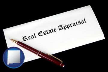 real estate appraisal documents and a pen - with New Mexico icon