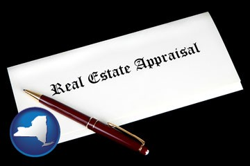 real estate appraisal documents and a pen - with New York icon