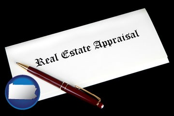 real estate appraisal documents and a pen - with Pennsylvania icon