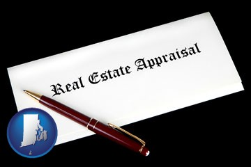 real estate appraisal documents and a pen - with Rhode Island icon