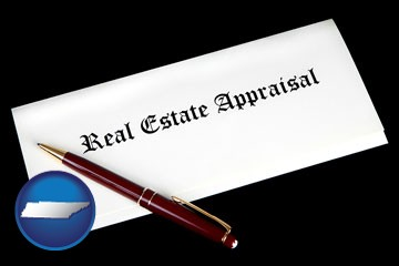 real estate appraisal documents and a pen - with Tennessee icon